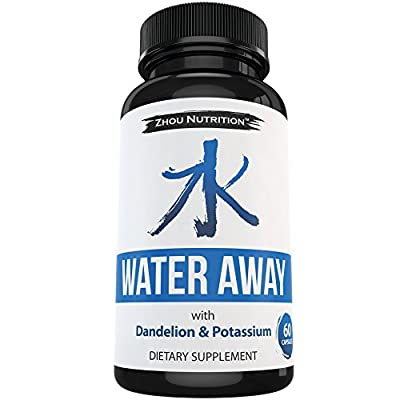 Water Away Herbal Diuretic to Promote Healthy Water Balance - Premium Herbal Blend with Green Tea, Dandelion, Potassium & More - 60 capsules - Manufactured in the USA