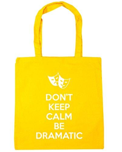 HippoWarehouse Don't Keep Calm Be Dramatic Tote Shopping Gym Beach Bag 42cm x38cm, 10 litres Yellow