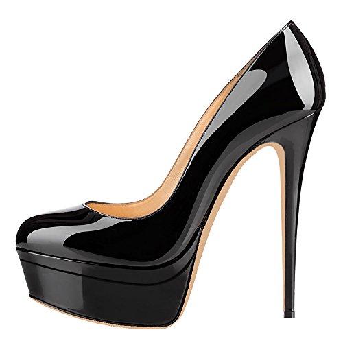 Pumps Women's Heel Double High Platform AOOAR Patent Black BFHAnx