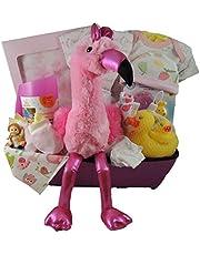 Large Baby Girl Gift Basket/Shower Gift: 15 Inch Stork, Boxed Fleece Blanket, Jesse Lulu Receiving Blanket, Baby Mode Onesie and more