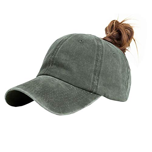 Eohak Ponytail Baseball Hat Distressed Retro Washed Cotton Twill (Light ArmyGreen)