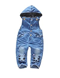 Kidscool Baby Boys/girls Plaid Lining Two Cats Denim Cardigan Hooded Overalls
