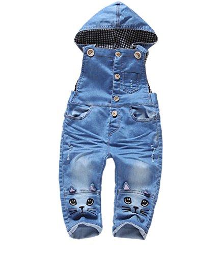 Kidscool Baby Boys/girls Plaid Lining Two Cats Denim Cardigan Hooded Overalls