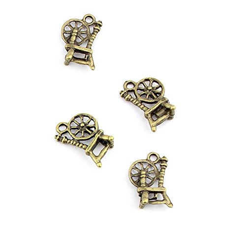 - 300pcs Jewelry Making Charms Jewellery Charme Antique Bronze Brass Tone Findings Lots Bulk Supply Supplies Repair Vintage Retro VV056 Antique Spinning Wheel