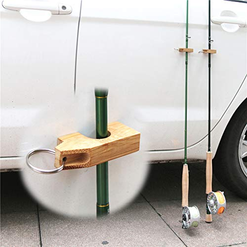 Holders Magnetic Rod (Fishing Accessories, 2Pcs Portable Mini Outdoor Fishing Rod Magnetic Wood Holder Stand Accessories)