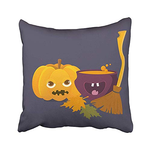 FJPT Throw Pillow Cover Cartoon Witch Cauldron with Magic Boiling Soup Potion and Halloween Pumpkin Squash Jack O'Lantern Cotton Pillowslip for Sofa Bed Stand Size Pillowcase 22x22 Inch]()