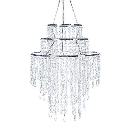 SUNLI HOUSE 3 Tiers Sparkling Acrylic Iridescent Beaded Pendant Shade, Ceiling Chandelier Lampshade with Chrome Frame,12