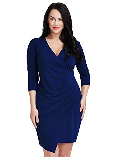 LookbookStore Women's Plus Size Blue V Neck 3/4 Sleeve Ruched Asymmetrical Dress 16W