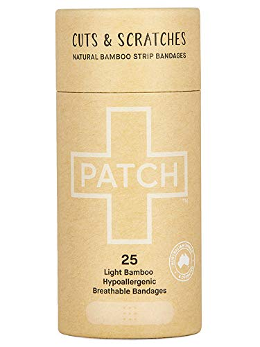 PATCH Eco-Friendly Organic Bamboo Bandage Strips for Cuts & Scratches, Hypoallergenic Wound Care for Sensitive Skin - Compostable & Biodegradable, Latex Free, Plastic Free, Zero Waste, Natural, 25ct