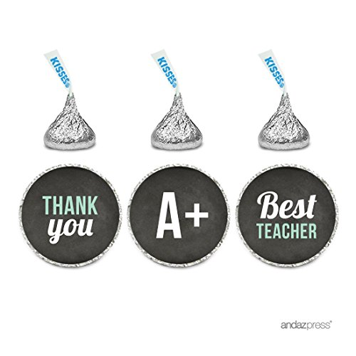 Andaz Press Chocolate Drop Labels Trio, Fits Hershey's Kisses, Teacher's Appreciation Thank You 1, 216-Pack, For Back to School Graduation Teacher Gift