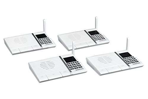 Samcom 20-Channel Digital FM Wireless Intercom System for Home and Office White Pack of 4