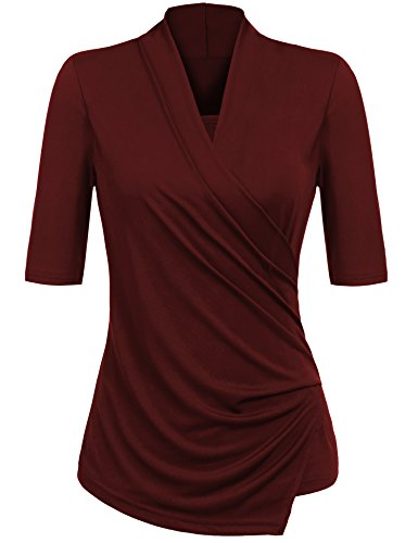 Yhlovg Women V-Neck Half Sleeve Cross Front Draped Blouse - Half Cross