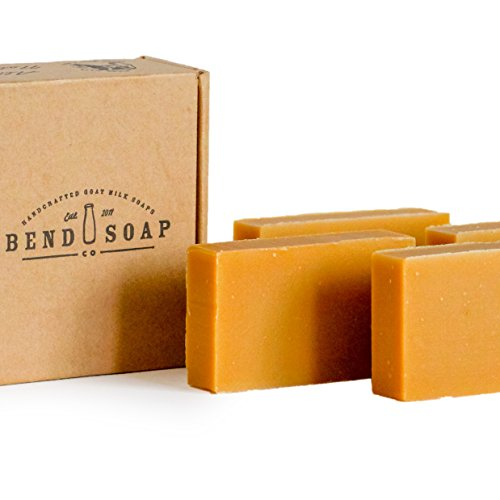 Bend Soap Company All Natural Handmade Goat Milk Soap for Dry Skin Relief, Unscented, 4 Count