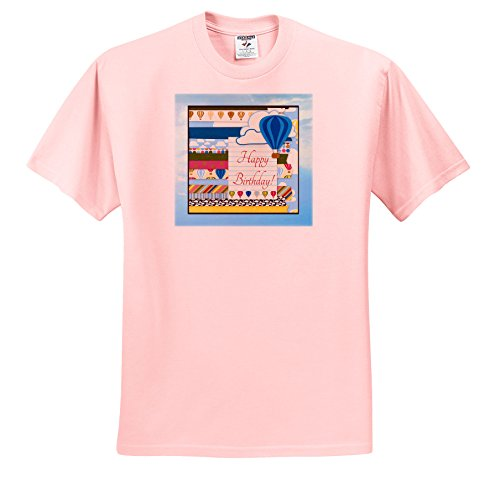 Price comparison product image Beverly Turner Birthday Design - Hot Air Balloons in the Clouds, Happy Birthday on Notebook Paper - T-Shirts - Youth Light-Pink-T-Shirt Med(10-12) (ts_254523_45)
