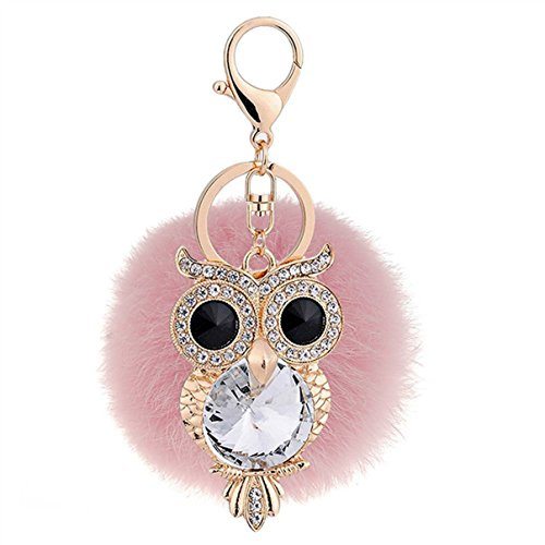 1 Pc Mini Pocket Crystal Rhinestone Owl Pink Fur Keychain Keyring Keyfob Little Bird Rabbit Fluffy Pompom Ball Pendant Key Rings Wrist Tag Deluxe Popular Cute Wristlet Utility Keyrings Tool, Type-03