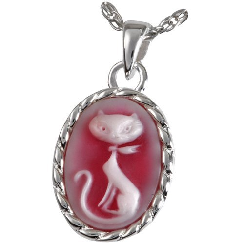 s MG-3513ss Pretty Kitty Cameo Sterling Silver Cremation Pet Jewelry (Necklace Cameo Clasp)