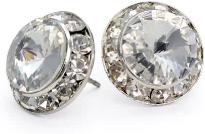 PammyJ Clear Crystal 15mm Round Post Earrings