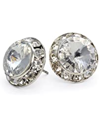 Clear Crystal 15mm Round Post Earrings