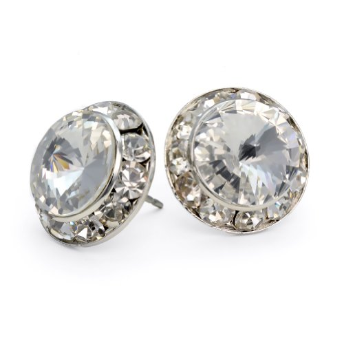 (PammyJ Clear Crystal 15mm Round Post Earrings)