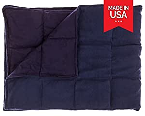Premium Weighted Blanket by InYard (41''x72'' 15lbs, Navy Blue)