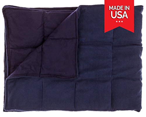 Premium Adult Weighted Blanket By InYard - 15 lbs - Navy Blue - Suitable for a person Between 90-150 lb by InYard