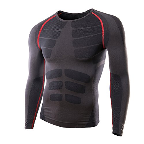 JOGAL Mens Cool Dry Compression Baselayer Long Sleeve Fitness Sports T Shirts X-Large Grayred