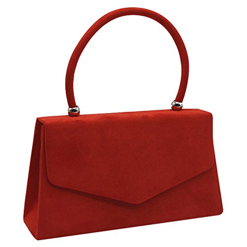 Girls Evening Leather Handbags Ladies Red Wocharm Clutch Bags Suede Women Handheld Faux d87qAxZ