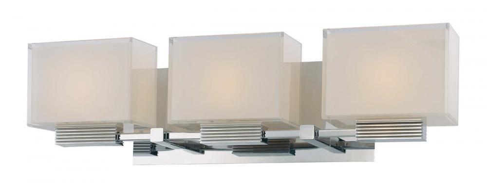 George Kovacs P5213-077, Cubism, 3 Light Bath Fixture, Chrome