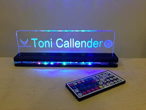 - Custom Desktop Nameplate LED Edge Lit Acrylic Laser Engraved and Cut Sign on Lighted Acrylic Base With Remote