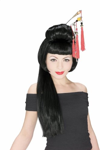 James Bond Girl Costumes Halloween (Rubie's China Girl Wig, Black, One)