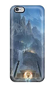 Fashionable Style Case Cover Skin For Iphone 6 Plus- Mountains Night Moon Fight Rocks Fantasy Art Magic Temples Saint Seiya Anime Manga Greek Temples