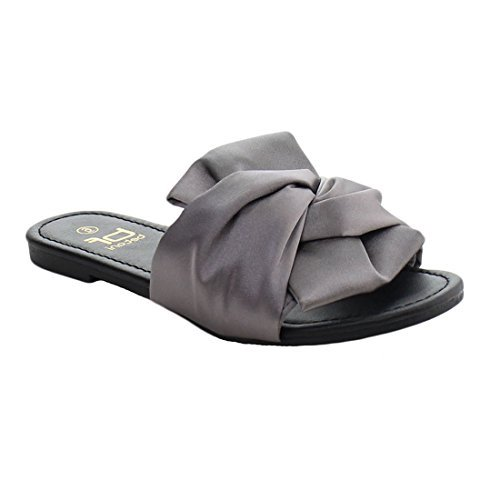 Betani EL79 Women's Bow Easy Slip On Knot Backless Flat Sandals Grey