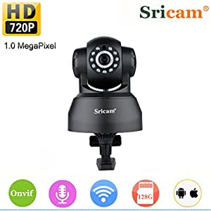 Sricam Home Security Camera P2P Night Vision Motion Detect Phone APP Control for Remote Access and View/Video Record 720P Wireless IP WiFi Camera Pan/Tilt Baby Pet Monitor Cams 2.4GHZ Network