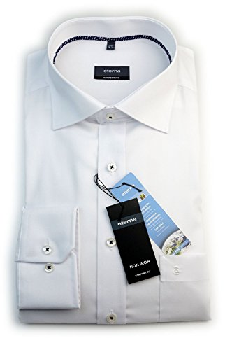 ETERNA Herren Langarm Hemd Comfort Fit weiß strukturiert mit Piping 8225.00.E187 (50)