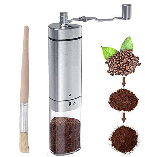 Manual Coffee Grinder Stainless Steel, Portable Hand Coffee Bean Grinder with Adjustable Conical Ceramic Burr & Brush…