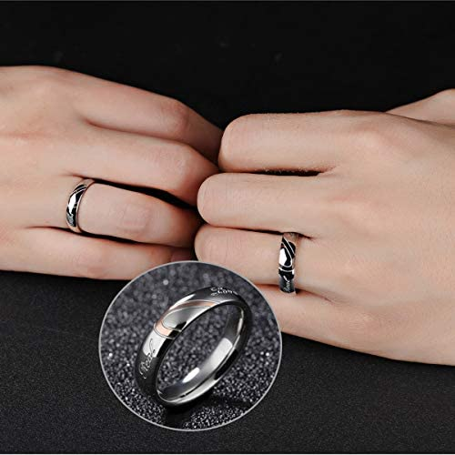 Marrymi Real Love Heart Promise Ring Couple Rings Wedding Band Women 4-11 Men 6-15