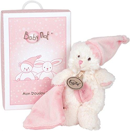 BabyNat - Peluches et Doudous - Doudou Ours Ourson et son mouchoir - Collection : Mon Doudou câlin - Peluche pantin blanc et rose - Genre : bébé fille - 15 cm - En boite / Coffret cadeau naissance Baby Nat BN045 Ours-rose