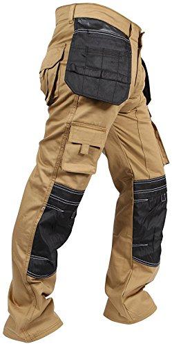 Pantaloni Carico Lavoro Uomo Tasche Ginocchio Newfacelook Cordura Kaki qf6FEwxBn