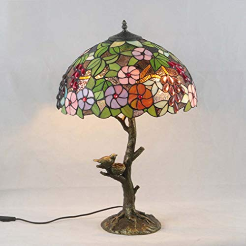 BEAR&MH Tiffany Style Table Light, European Creative Flower Grape Table lamp with Animal Alloy Base and Stained Glass,Bedroom Coffee Table Living Room Desk Bedside Light E27 ()