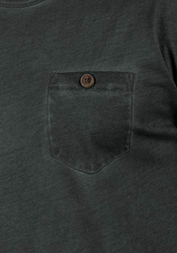 Básica Manga solid Para Tharan Hombre Con Redondo En Cuello Black Bolsillo 9000 De Algodón Longsleeve Larga Camiseta Pecho El 100 fpEArE
