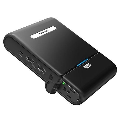 RAVPower 27000 AC Portable Charger 27000mAh 100W(Max.) Built in 110V AC Outlet Universal Power Bank Travel Charger (Type-C Port , Dual USB iSmart Ports , 19V/1.6A DC Input) For Macbook, Laptops, Smartphones