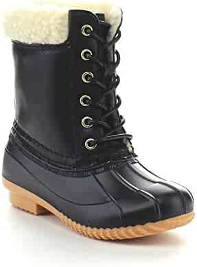 65a88285afeb Link Kyla-3K Children Girl s Fashion Snow Mid Calf Waterproof Lace Up Duck  Boots