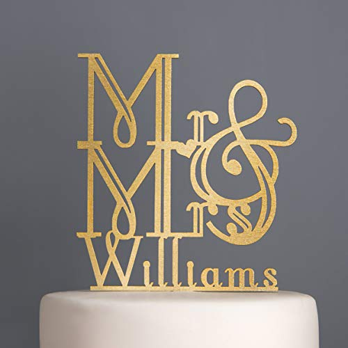 KISKISTONITE Personalised Art Deco Wedding Cake Topper Mr And Mrs Calligraphy,6 inches, Bridal Shower Party Decorating Supplies ()