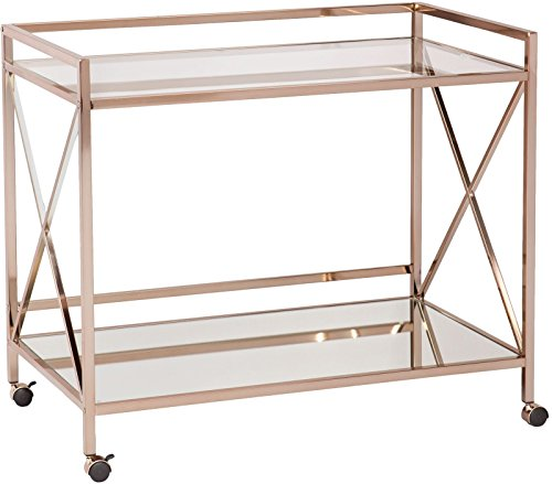 Lana45 Portable Bar Cart showcases metallic gold frame Bar Cart glossy glass tabletop Glam style by Lana45