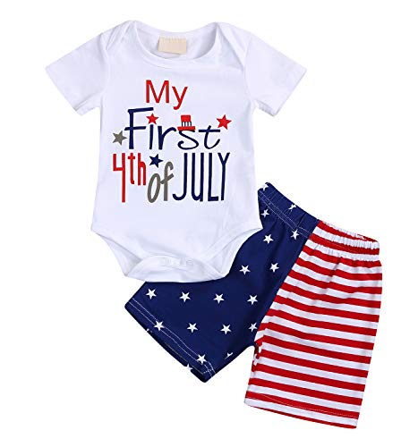 My First 4th of July Newborn Baby Boy Outfits American Flag Summer Romper Pants Independence Day 2PCS Set (White, 0-3 Months)