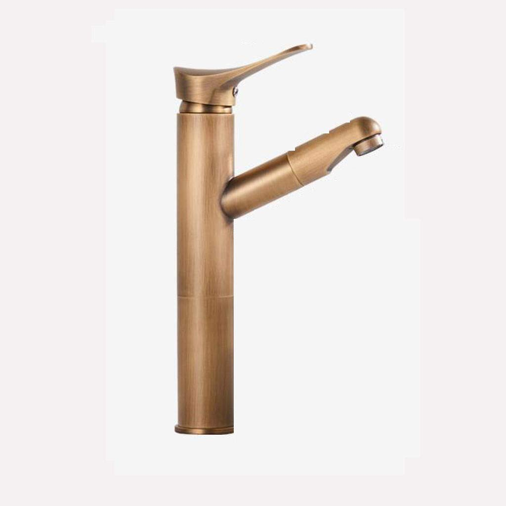Antique European Style All Bronze Basin Faucet,361Rotating spout Single Handle Touch Faucet Sink Mixer with Drain Assembly Brushed Nickel Kitchen Bathroom Bathroom -A