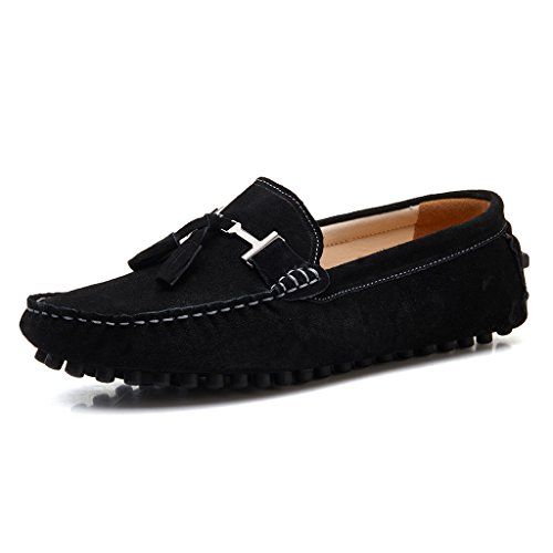 2026hei12 SUNROLAN New Life Men's Casual Suede Leather Tassel Slip-On Loafers Outdoor Low Boat Shoes Driving Car Moccasins Black US 12 (Outdoor Tassels)