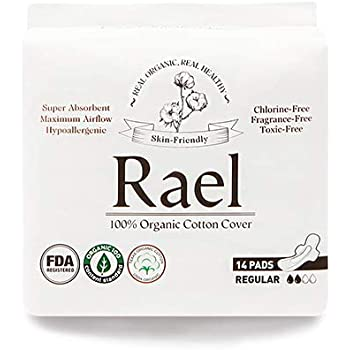 Rael Organic Cotton Menstrual Pads - Ultra Thin & Light Natural Sanitary Napkins with Wings (2 Pack) (Regular)