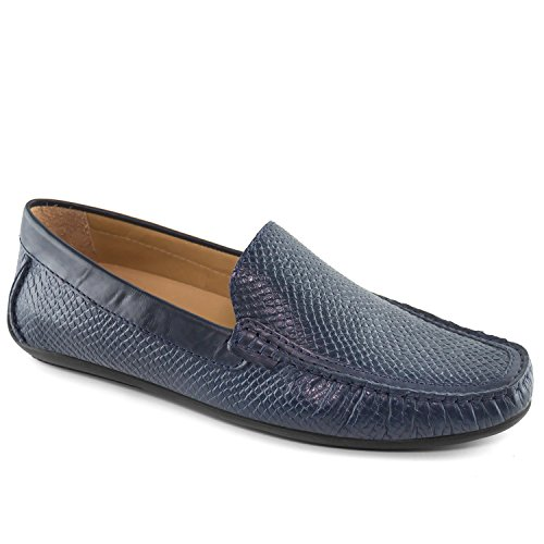 - Driver Club USA Mens Genuine Leather Made in Brazil San Diego Venetian Navy Cobra Loafer 10