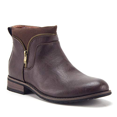 Men's Classic Designer Zipper Casual Chukka Ankle High Boots, Brown, 8